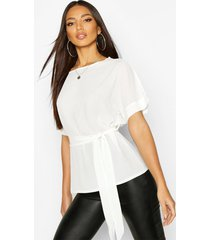 belted woven blouse, ivory