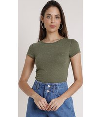 blusa feminina básica botonê manga curta decote redondo verde militar