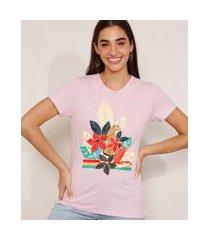 camiseta de algodão onça com flores manga curta decote redondo lilás
