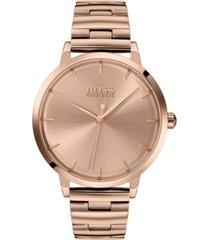 boss women's marina rose gold ion-plated stainless steel bracelet watch 36mm