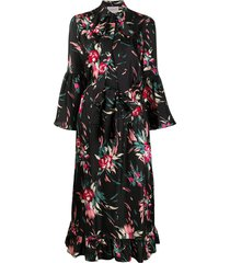 la doublej floral pussy-bow silk shirt dress - black