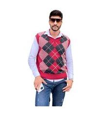 colete tricot bento pulôver masculino shopping do tricô xadrez