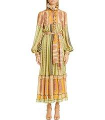 women's etro paisley ruffle long balloon sleeve silk maxi dress, size 12 us - green