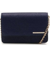bolsa couro jorge bischoff texturizada azul-marinho - azul marinho - feminino - dafiti