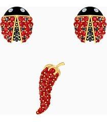 set di orecchini a buco lisabel, rosso, placcato oro