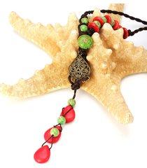 collana cinese manuale di rosso turchese collana di maglione