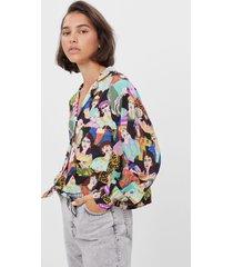 blouse met vrouwenprint