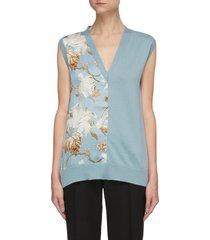 floral panel v-neck knit tank top