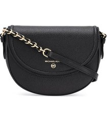 michael kors jet set charm half dome black crossbody bag