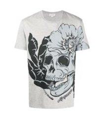 alexander mcqueen camiseta com estampa de caveira e flores - cinza