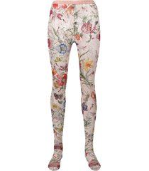gucci floral lace tights - pink