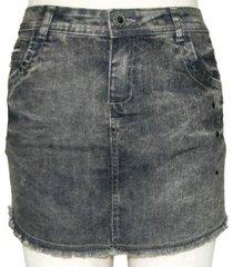 mini saia plus size jeans black com pedraria