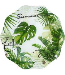 conjunto 4 pratos rasos de vidro 25cm – linha leaves verde
