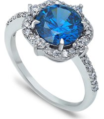 tanzanite cubic zirconia fancy halo ring in fine silver plate or 18k gold plate