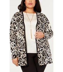 belldini black label plus size leopard-print open-front jacket