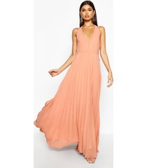 chiffon pleated plunge maxi bridesmaid dress, apricot