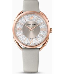 orologio crystalline glam, cinturino in pelle, grigio, pvd oro rosa