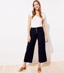 loft petite linen blend button front wide leg pants