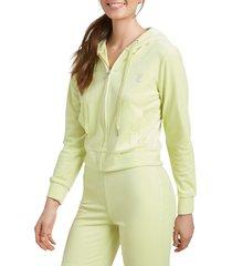 women's juicy couture rhinestone logo velour hoodie, size large - green