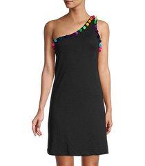 pom pom one-shoulder dress