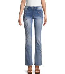 driftwood women's kelly x pink star embroidered bootcut jeans - medium wash - size 26 (2-4)