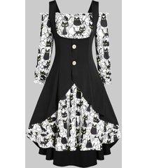 halloween off shoulder cat print dress and buckles high low top set