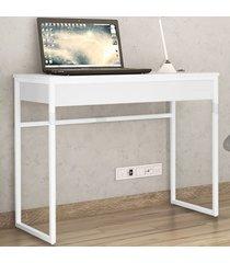 mesa escrivaninha brisa 1 gaveta branco - novabras