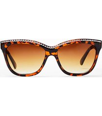 womens so edgy leopard cat-eye sunglasses - brown