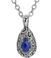 carolyn pollack lapis doublet pendant necklace (6 ct. t.w.) in sterling silver
