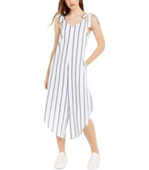 just hanging juniors' striped asymmetrical-hem cropped jumpsuit