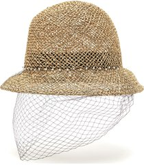 net veil straw bucket hat