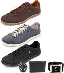 kit 3 sapatênis street lona masculino + cinto + carteira + relógio - masculino