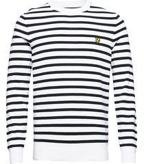 breton stripe jumper gebreide trui met ronde kraag wit lyle & scott