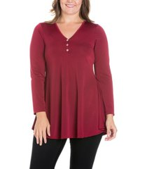 women's plus size flared long sleeves henley tunic top
