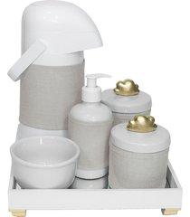 kit higiene espelho completo porcelanas, garrafa e capa nuvem dourado quarto bebê unissex