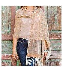 cotton shawl, 'natural combination in brown' (guatemala)