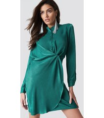 hannalicious x na-kd draped shirt dress - turquoise