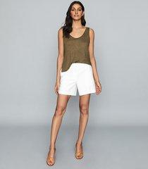 reiss bria - linen jersey vest top in khaki, womens, size xl