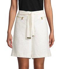 self-tie linen shorts