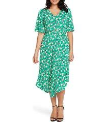 women's chaus garden sprig asymmetrical hem midi dress