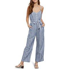 women's rails harper tie waist crop jumpsuit, size x-large - blue
