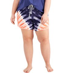 jenni plus size cotton tie-dyed pajama shorts, created for macy's