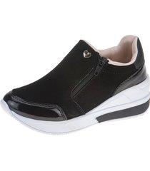 tênis sneaker infantil joys shoes flat form preto/rosa - tricae