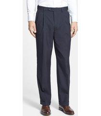 men's berle self sizer waist pleated classic fit dress pants, size 32 x - blue