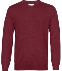 mélange round neck knit stickad tröja m. rund krage röd lindbergh