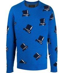 viktor & rolf hat intarsia jumper - blue