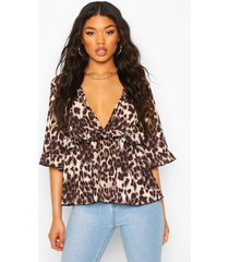 woven leopard smock top, brown