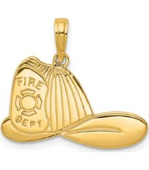 firefighter hat pendant in 14k yellow gold