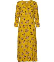 vanilla print dress jurk knielengte geel modström