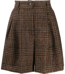 dolce & gabbana checked tweed shorts - brown